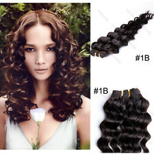 """#1B Deep Wave Wavy Curly 100% Real Human Hair Weaving Weft Extensions 10""""-24"""""""