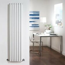 Designer White Single 1600x360mm 6 Tube Radiator Rail with Valves