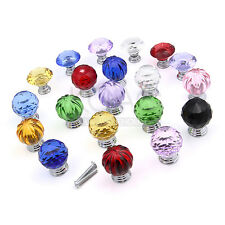 30mm Diamond Crystal Glass Door Knobs Drawer Cabinet Furniture Kitchen Handle