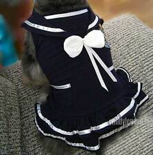 CUTE COTTON SUMMER NAVY BLUE STYLE PET PUPPY DOG CLOTHES SKIRTS DRESS