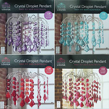 128 Jewels Crystal Droplet Ceiling Light Shade Pendant Lightshade 4 Colours New