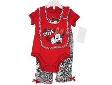 Baby Infant Girl Disney Minnie Mouse Set Size 6/9 Months (Pants/One-Piece/Bib)