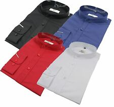 Mens Chinese Grandad Collar Formal Button Casual Shirt White Black Blue Red