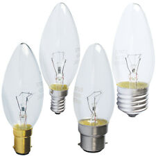 5, 10, 20 CANDLE LIGHT BULBS CLEAR 25W 40W OR 60W BC SBC ES OR SES FITTING