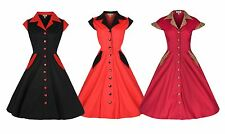 NEW LINDY BOP VINTAGE 1950's ROCKER ROCKABILLY PINUP COTTON SHIRT DRESS FIFTIES