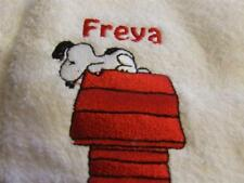 White Bath/Hand/Face Towels Embroidered with Snoopy
