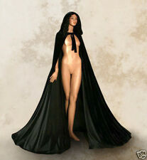 Hot Satin Lined Black Hooded Velvet Cloak Gothic Wicca Robe Medieval Larp Cape