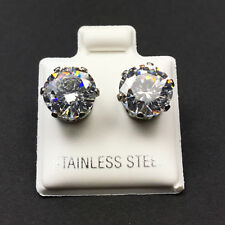 316L Surgical Stainless Steel Round Clear CZ Stud Earrings (Multiple Sizes)