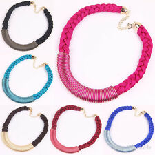 Fashion 6Colors Women Rope Weave Braid Alloy Bubble Bib Collar Charm Necklace