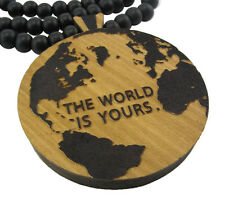 """WOODEN THE WORLD IS  YOURS PENDANT PIECE w 36"""" CHAIN NECKLACE GOOD WOOD SCARFACE"""