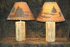 Handmade Rustic Pine Log Lamps - Cabin or Lodge Log Furniture - Choice of Shade