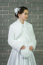Flower Girls Wedding Communion Faux Fur Bolero Jacket Shrug 2-13yrs (K-27)