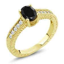1.47 Ct Oval Black Sapphire White Topaz 18K Yellow Gold Plated Silver Ring