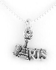 STERLING SILVER PARIS EIFFEL TOWER CHARM WITH BOX CHAIN NECKLACE