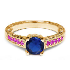1.18 Ct Blue Simulated Sapphire Pink Sapphire 14K Yellow Gold Engagement Ring