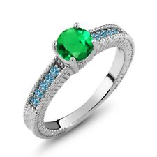 1.20 Ct Round Green Simulated Emerald Swiss Blue Topaz 925 Sterling Silver Ring