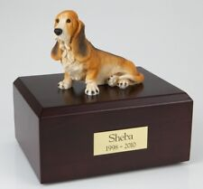 Basset Hound Pet Funeral Cremation Urn Available in 3 Different Colors & 4 Sizes