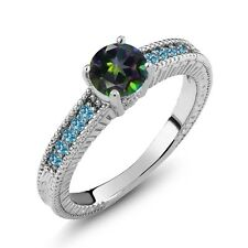 1.20 Ct Green Mystic Topaz Swiss Blue Simulated Topaz 925 Sterling Silver Ring
