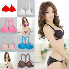 Sexy Fashion Womens Front Closure Lace Racer Back Racerback Push Up Bra