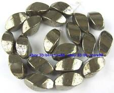 100% Natural Tetrahedral Twist Pyrite Beads 16''