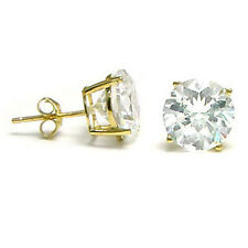 14K Solid Yellow Gold Round CZ Stud Earrings Basket Setting sizes2-10mm FREE BOX
