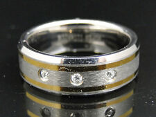 Mens Two Tone Titanium Faceted Wedding Engagement Diamond Band Ring 8 mm