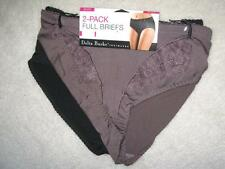 NWT DELTA BURKE Two Everyday Microfiber Full Briefs w/Lace Smoky Taupe & Black