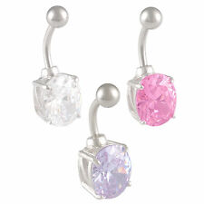 navel piercing  Czech Crystal Ball Bar Stud Belly Ring Stainless Steel Oval 9PVI