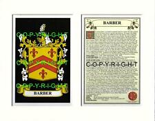 BARBER Family Coat of Arms Crest + History - Available Mounted or Framed