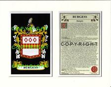 BURGESS Family Coat of Arms Crest + History - Available Mounted or Framed