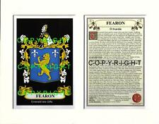 FEARON Family Coat of Arms Crest + History - Available Mounted or Framed