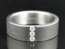 Mens Shiny Stainless Steel 316 Diamond Wedding Engagement Band Ring 7 mm