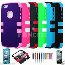 For iPhone 5 3-pieces Hybrid Rugged Soft Hard Silicone Impact Case Cover FilmPen