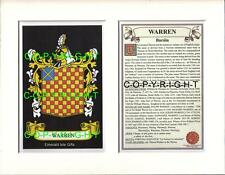 WARREN Family Coat of Arms Crest + History - Available Mounted or Framed