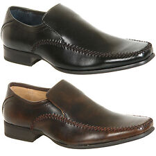 Mens New Black Brown Slip On Formal Side Stitched Shoes Size 6 7 8 9 10 11 12
