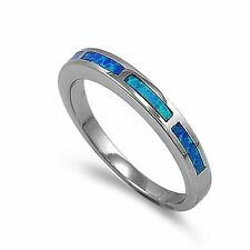 Created Blue Fire Opal Inlay Ring Sterling Silver