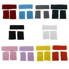 Sport Yoga HEADBAND+WRISTBAND Set Sweatband Tennis Badminton basketball 10-Color