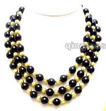 "SALE Big 10mm Black Round Agate and 14K GP beads 18-20"" 3 Strands necklace-n5771"