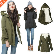Womens Winter Fleece Hooded Parka Coat Overcoat Long Jacket Trench Warm Outwear