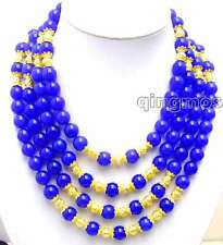 "SALE Big 10mm blue Round jade and 14K GP beads 18-21"" 4 Strands necklace-nec5772"