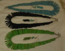 "18"" gradual stick bead necklace/earring /apple green, black, turquoise(e348- w2)"