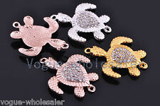 Charms Swimming Turtle Crystal Rhinestone Bracelet Finding Connector 38x31mm