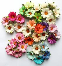 5 Mulberry Paper Mixed Chrysanthemum Flowers 45mm With Wire Stems For Craft