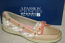 WOMENS SPERRY ANGELFISH CORAL PLAID SEQUINS BOAT SHOES~MULTI SIZES (S917)