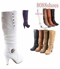 Women's Fashion Stylish Mid Calf Round Toe High Heel Boot  Shoes Size 5 - 11NEW