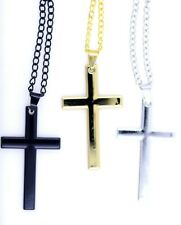 Silver / blue / black stainless steel  Lord's prayer and cross necklace