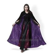 Black Hooded Cloaks Velvet Wedding Cape Halloween Masquerade Coat Shawl Wicca