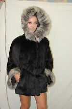 Real Natural Rex Rabbit fur Poncho, with Fox fur hood and cuffs