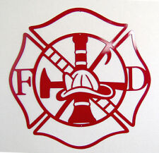 Maltese Cross Firefighter Metal Art Fire Department Indoor or Outdoor Wall Sign