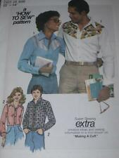 "1977 SIMPLICITY #8133-MENS or LADIES WESTERN ""HOW TO SEW"" SHIRT PATTERN SM&LG uc"